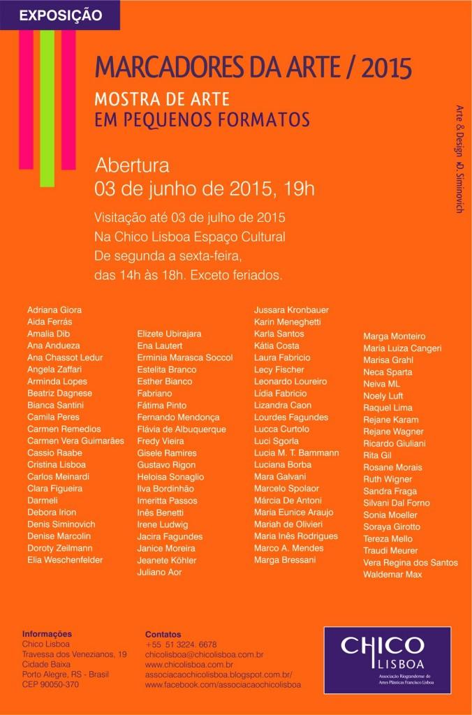 Convite III Mostra de Arte em Pequenos Formatos - Marcadores da Arte  Chico Lisboa  2015..