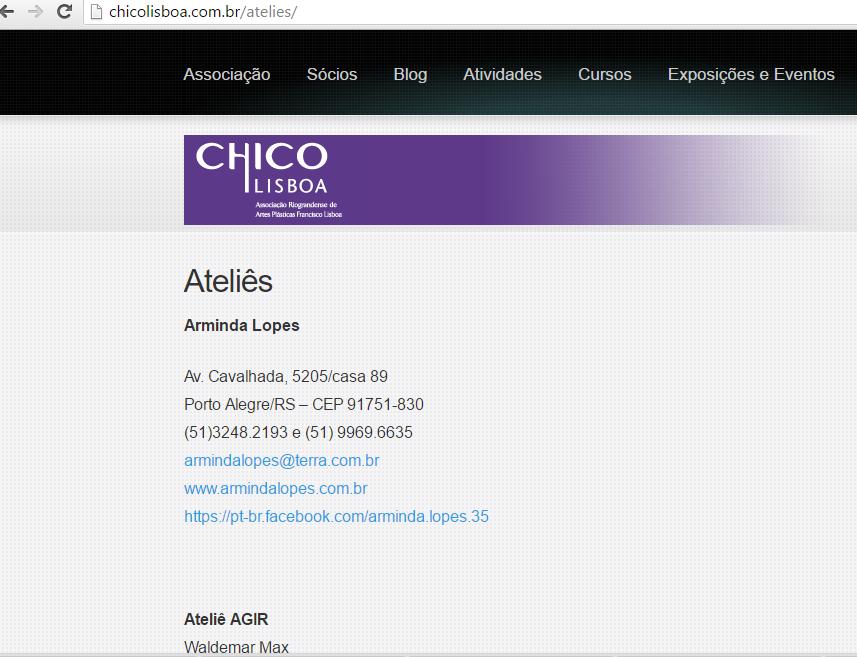 Chico Lisboa divulga ateliês de sócios