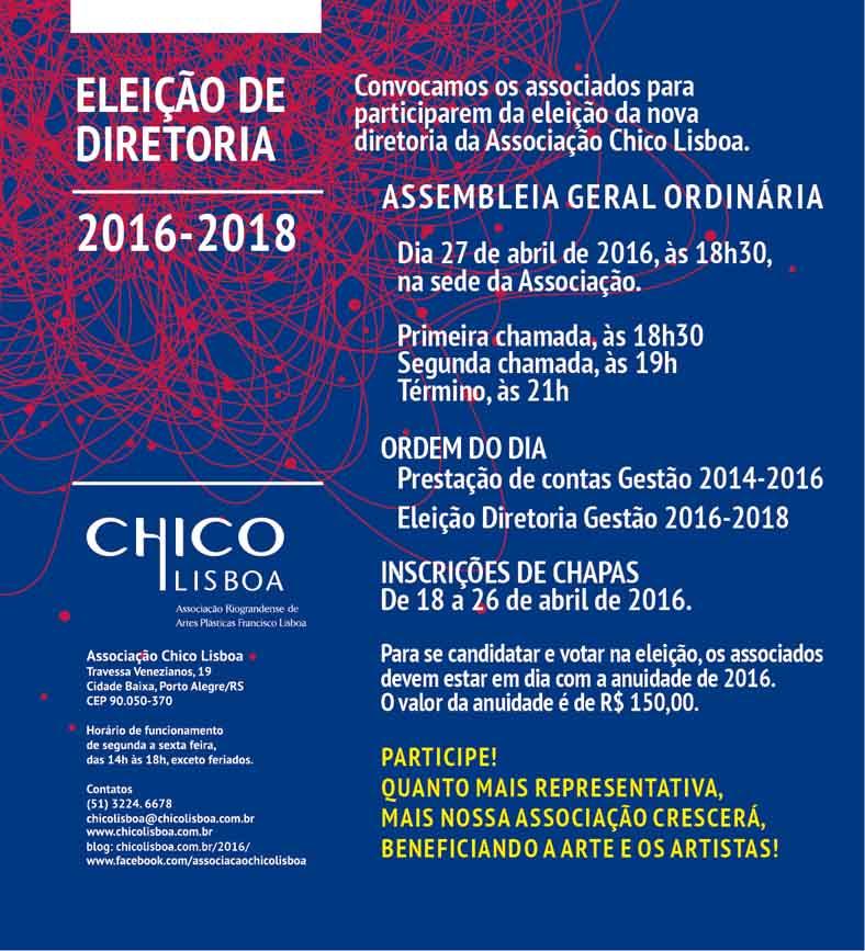 Eleição de diretoria da Chico Lisboa será dia 27 de abril