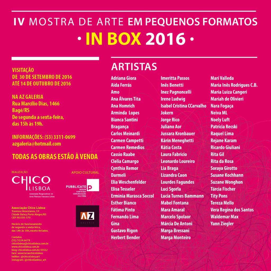 IV Mostra de Arte em Pequenos Formatos IN BOX em Bagé/RS