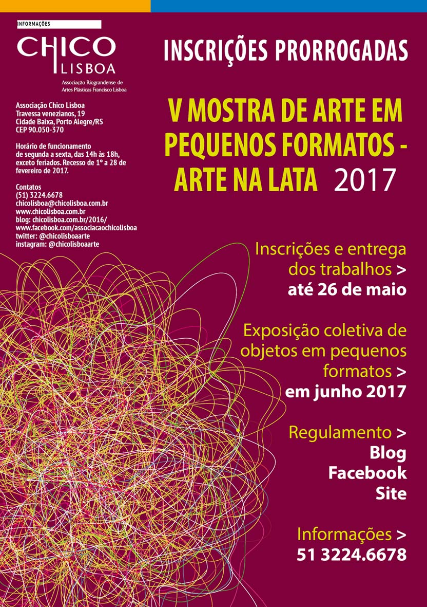 PRORROGADAS ATÉ 26 DE MAIO as inscrições para V Mostra de Arte em Pequenos Formatos 2017