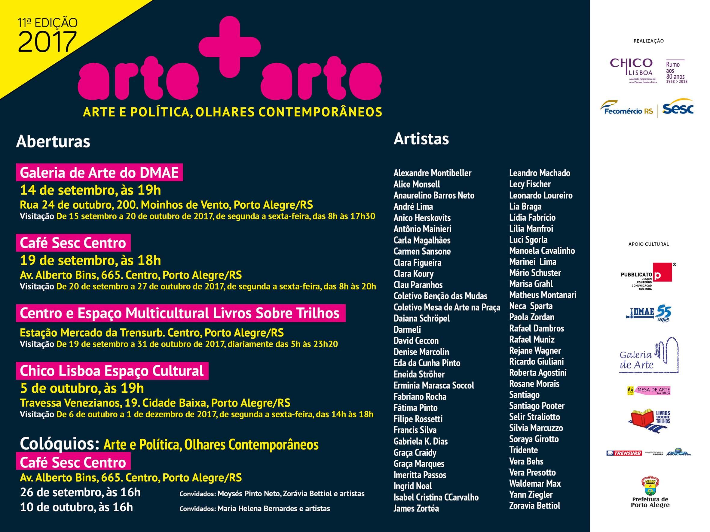 Arte+Arte 2017: Arte e Política Olhares Contemporâneos