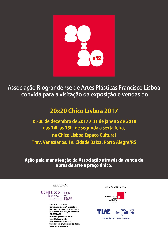Exposição e vendas de obras 20×20 2017- na sede da Chico Lisboa