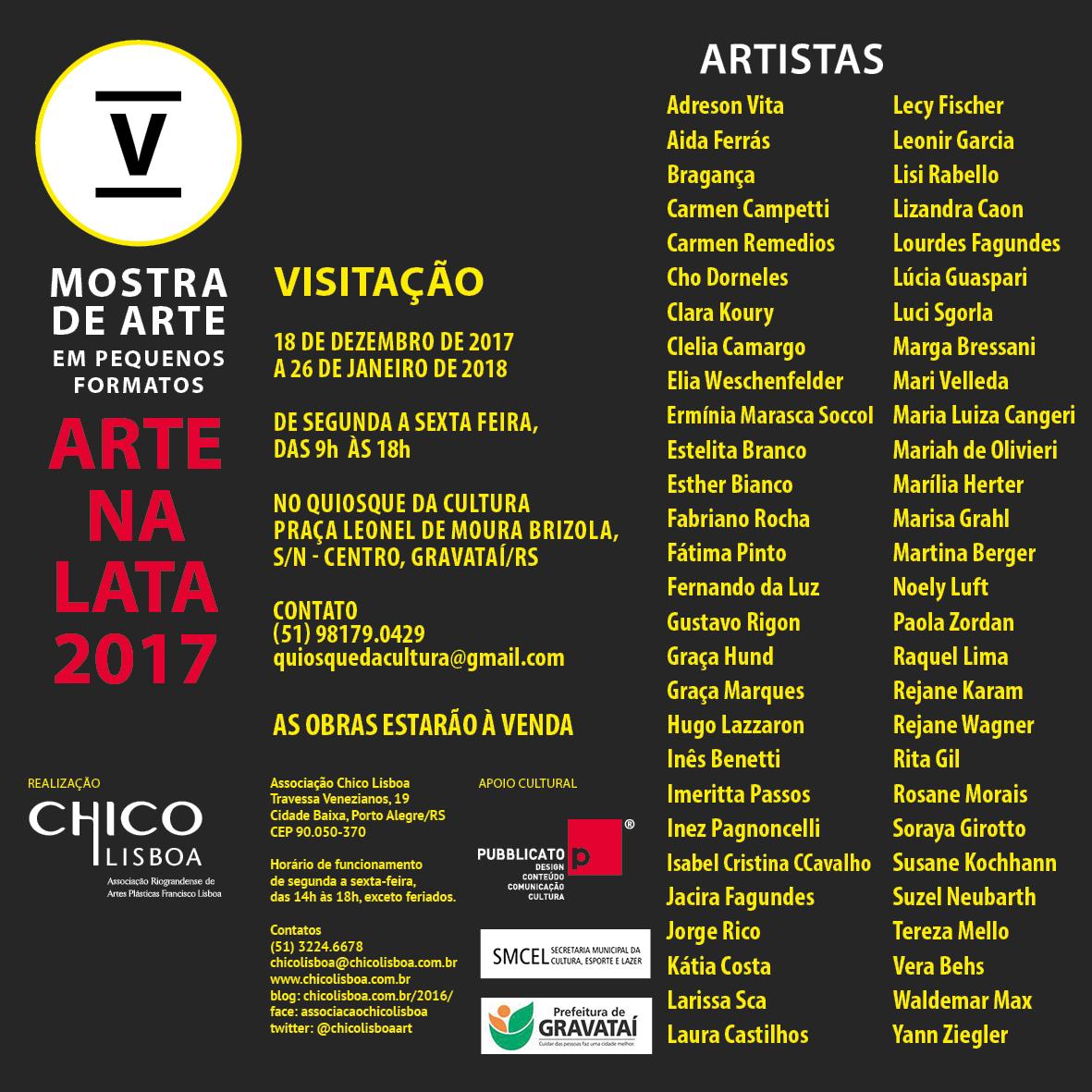 Encerrada a Mostra de Arte em Pequenos Formatos – Arte na Lata 2017, no Quiosque da Cultura