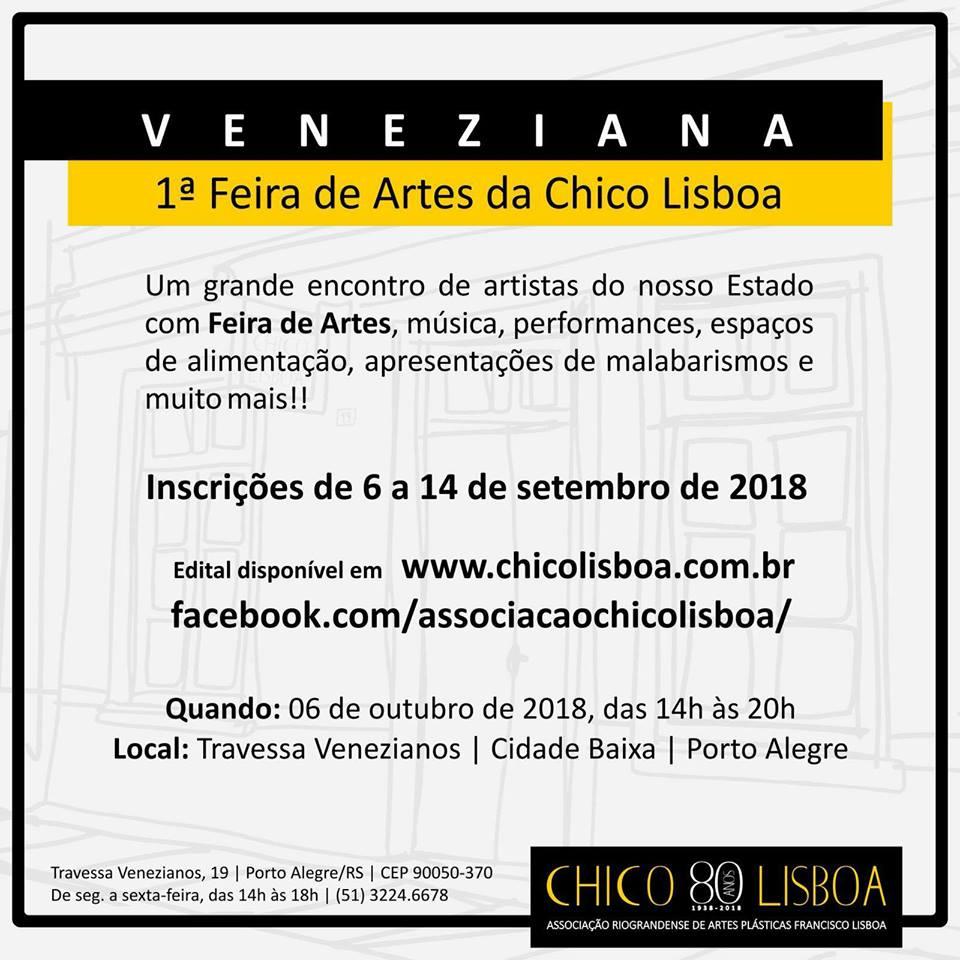 Edital prorrogado até 24/09! Veneziana – 1ª Feira de Artes da Chico Lisboa