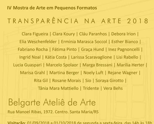 VI Mostra de Arte em Pequenos Formatos – Transparência na Arte 2018