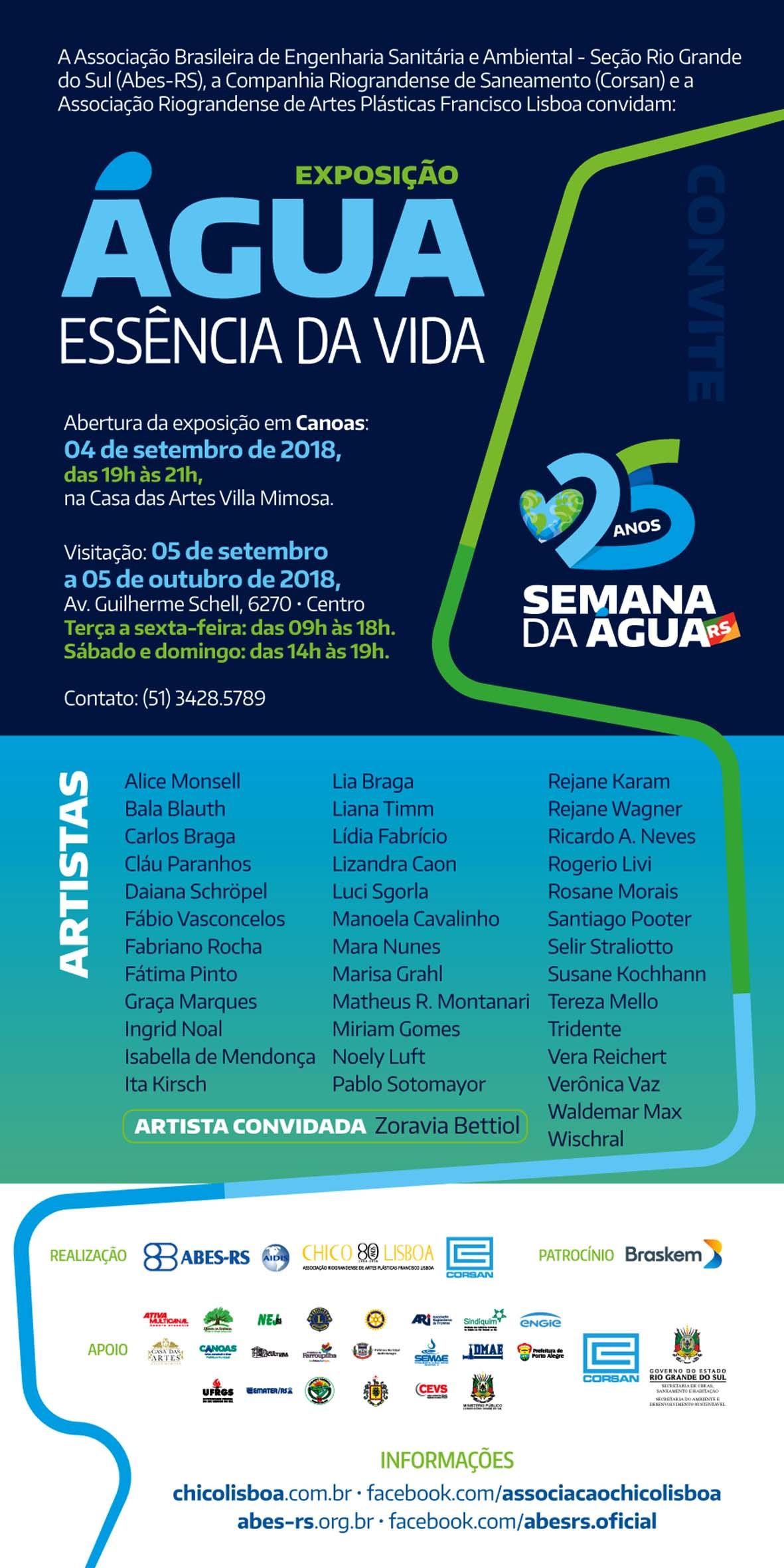 Exposição Água: Essência da Vida, na Casa das Artes Vila Mimosa – Canoas/RS