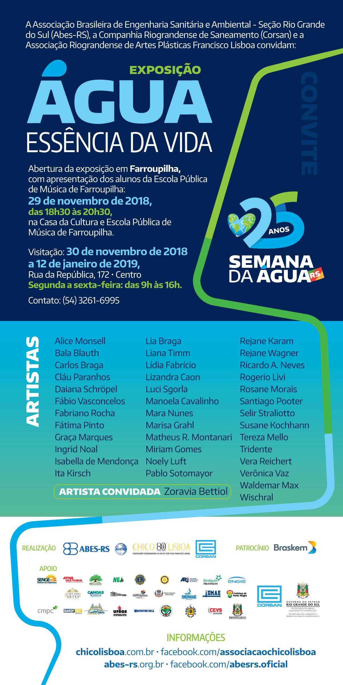 ExposiçãoÁGUA: ESSÊNCIA DA VIDA – 25 ANOS Semana da Água do RS, abertura dia 29/11, em Farroupilha