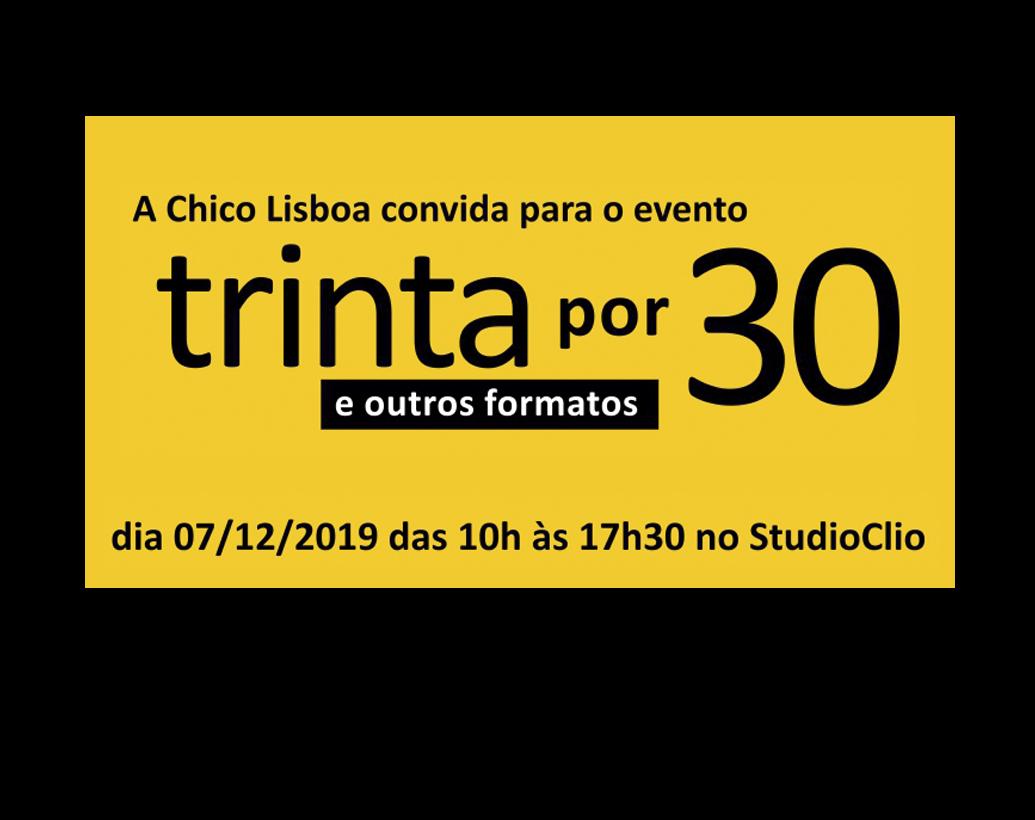 7 de dezembro no Studio Clio – Te esperamos para 30×30 e outros formatos