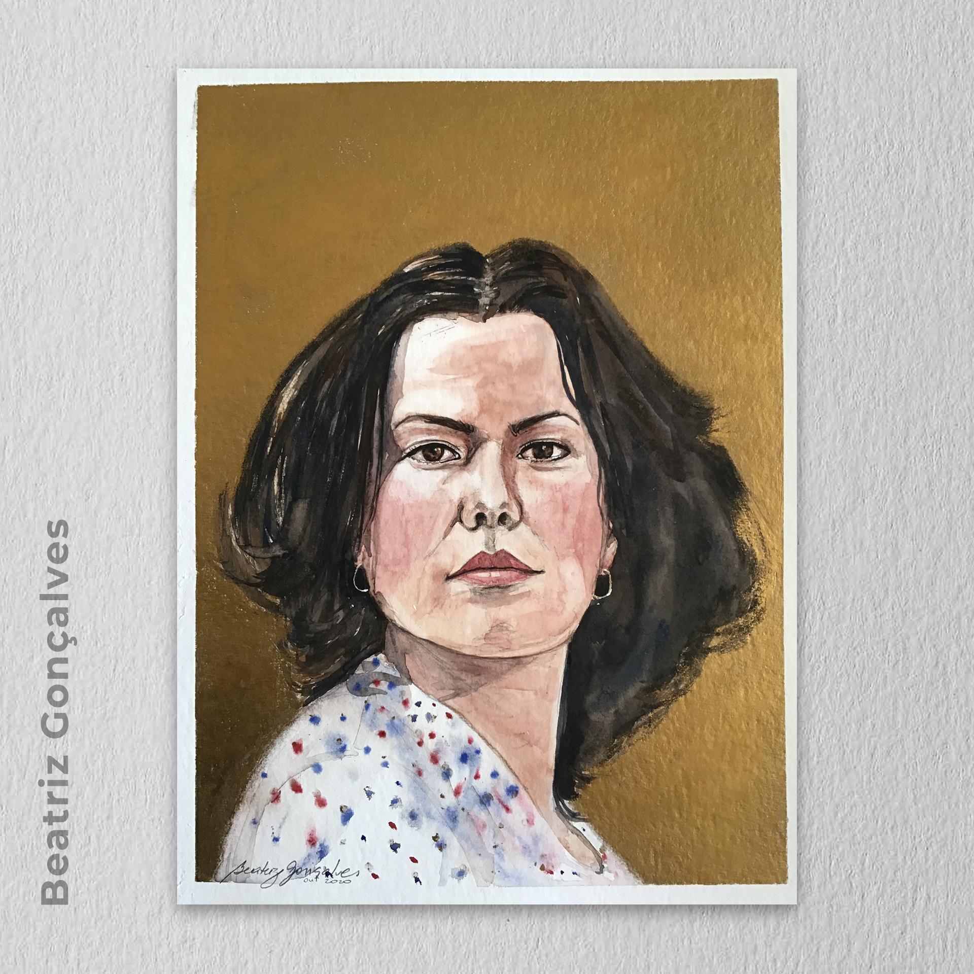 Artista: Beatriz Gonçalves - Título: Elis  24cm x 32cm - Técnica mista: aquarela e pasta metálica - R$ 250,00