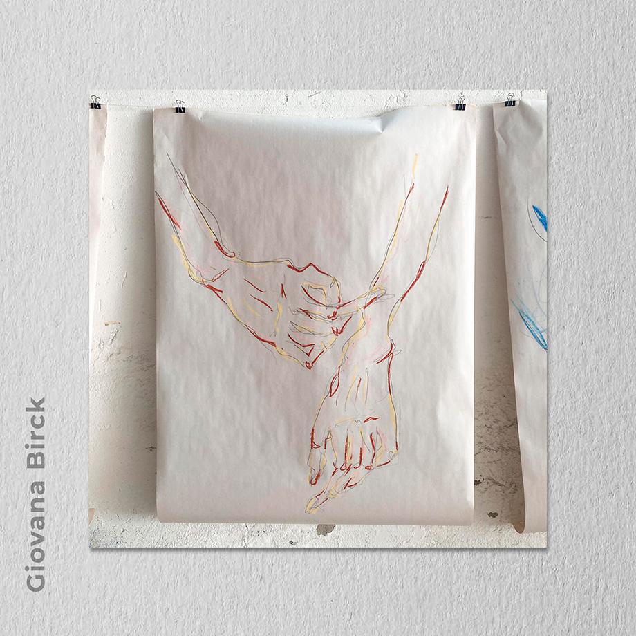 Artista: Giovana Birck - Título: Confluência [2020]  96,5cm x 66cm - Técnica: Desenho com lápis 6B e giz pastel sobre papel jornal Valor R$ 750,00