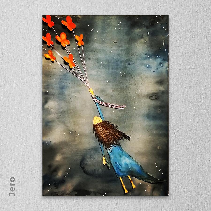 Artista: Jero - Título: Free 30cm x 42cm - Técnica: Mista (Aquarela, colagem e acrílica)