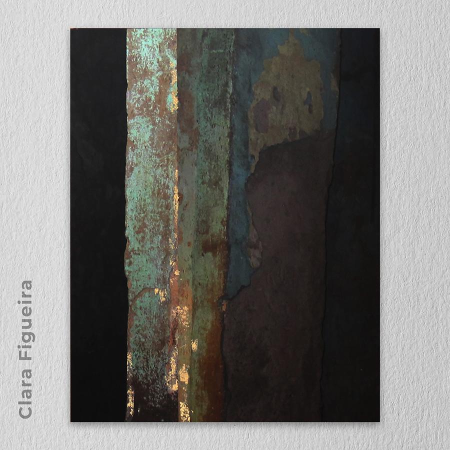 Artista: Clara Figueira - Título: Pintura Arqueológica 18 50cm x 40cm - Técnica: Fotografia impressa em papel Somerset Velvet com aplicação em folha de ouro Valor R$ 2000,00