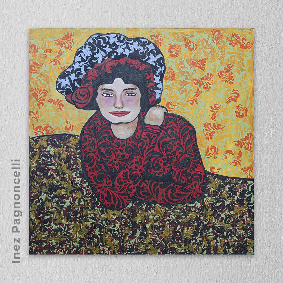 """Artista: Inez Pagnoncelli  - Título: A Espera """"MARGOT"""", releitura de um quadro de Picasso 80cm x 80cm - Técnica: Pintura em tela com tinta acrílica  Valor R$ 800,00"""