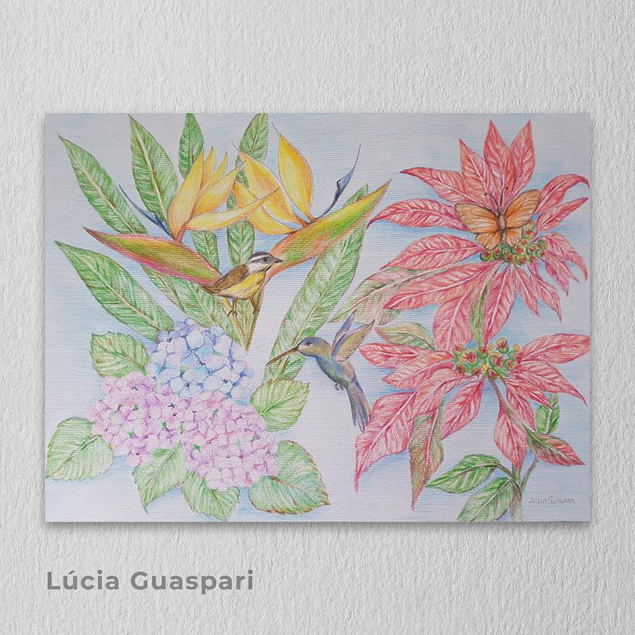 Artista: Lúcia Guaspari - Título: Meu jardim 30cm x 42cm - Técnica: Desenho e lápis de cor  Valor R$ 350,00