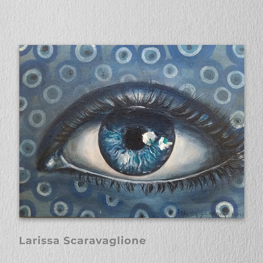 Artista: Larissa Scaravaglione - Título: Olho Grego 18cm x 24cm - Técnica: Acrílico sobre tela