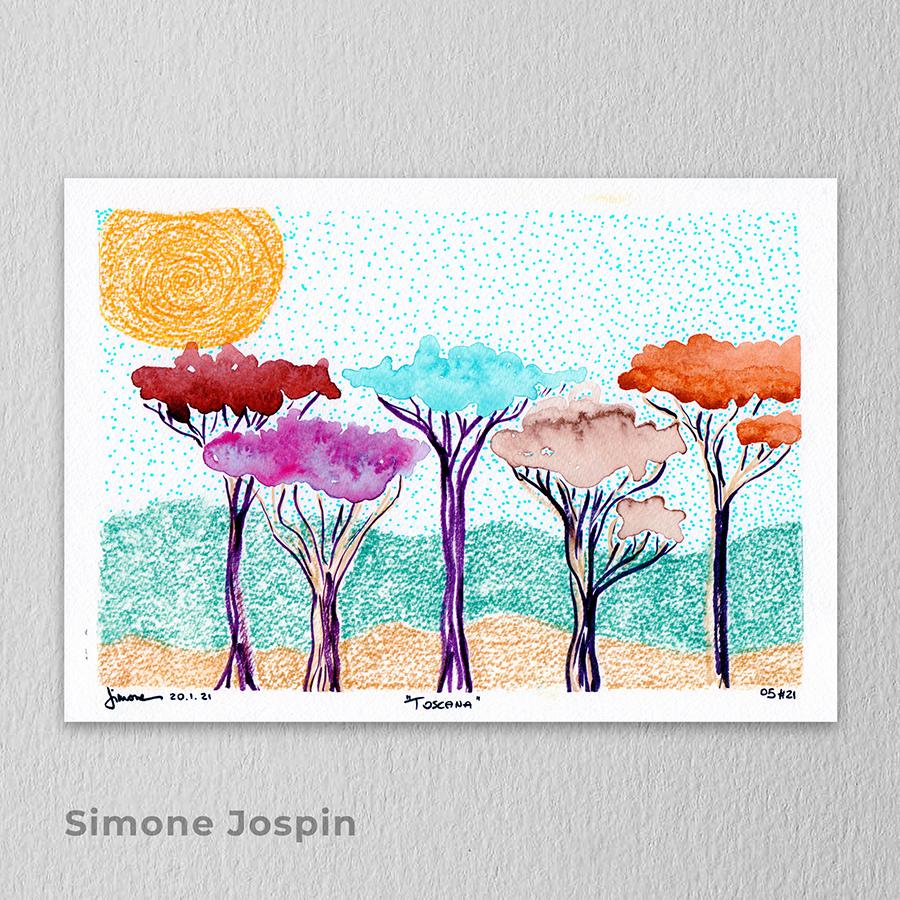 Artista: Simone Jospin - Título: Toscana 29,5cm x 21cm - Técnica: aquarela, hidrocor, brush pen e pastel seco Valor R$ 360,00